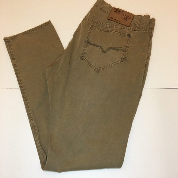 save up to 60% elegant and graceful run shoes Guess Men's Tan Los Angeles Aleve Chinos Sz 36x32